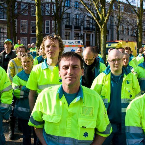 Demonstratie Ambulancezorg tegen aanbestedingen, april 2009