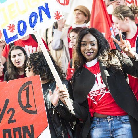 Demonstratie tegen jeugdloon