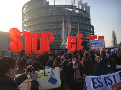 CETA-demonstratie bij het Europees Parlement in Straatsburg