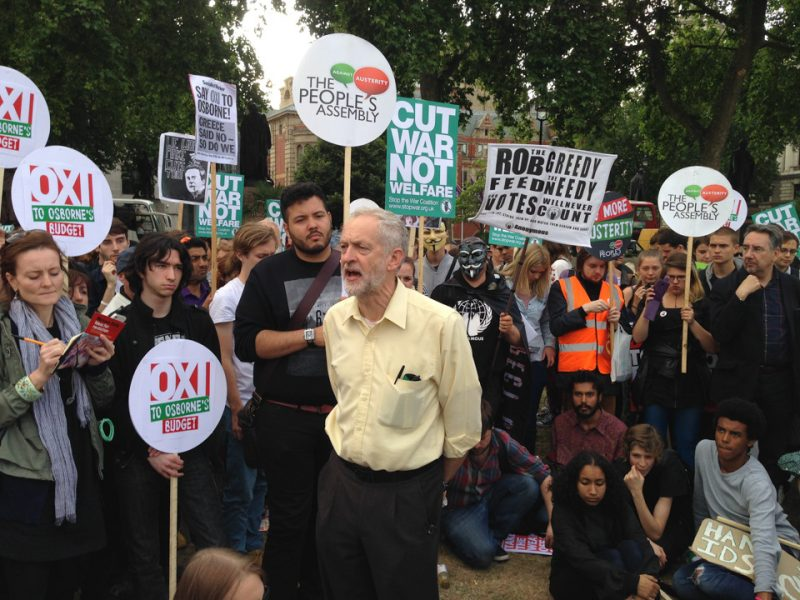 Jeremy Corbyn at anti-austerity demonstration in Britain, photo by Jason (https://www.flickr.com/photos/lewishamdreamer/) (CC BY-NC 2.0)