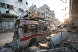 Photo: http://upload.wikimedia.org/wikipedia/commons/c/c1/Destroyed_ambulance_in_the_CIty_of_Shijaiyah_in_the_Gaza_Strip.jpg