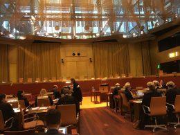 De plenaire zaal van het Europese Hof van Justitie